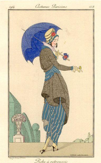 Lámina de moda para el Costumes Parisiens de 1914